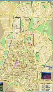 نقشه قزوین ـ محله هادی آباد با کادر مشکی و محلات مرفه نشین همجوار با کادر قرمز مشخص شده است.