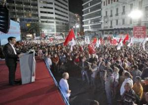 میتینگ سیریزا در یونان