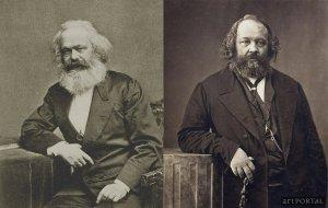 میخاییل باکونین (راست) و کارل مارکس (چپ)