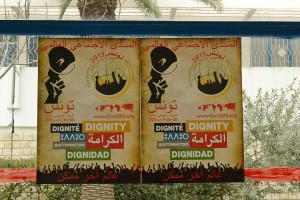 Posters of World Social Forum in Tunis, tunisia