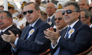 Turkey's President Gul and Turkey's Prime Minister Erdogan attend a delivery ceremony for the first nationally designed combat ship