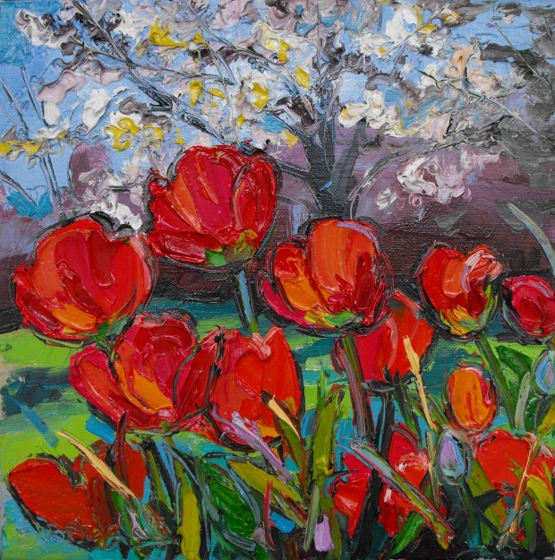 Spring Tulips with Cherry Blossom 12 x 12